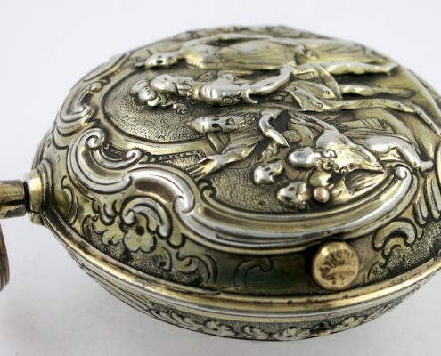 Silver repousse pocket watch