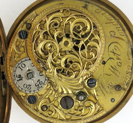 Gold repousse verge pocket watch, William West