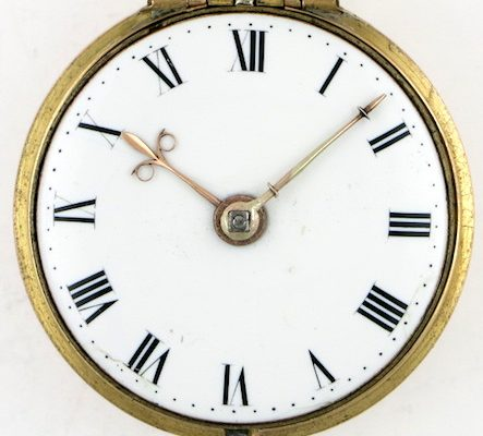 Gold repousse cased verge pocket watch by William Howard, London
