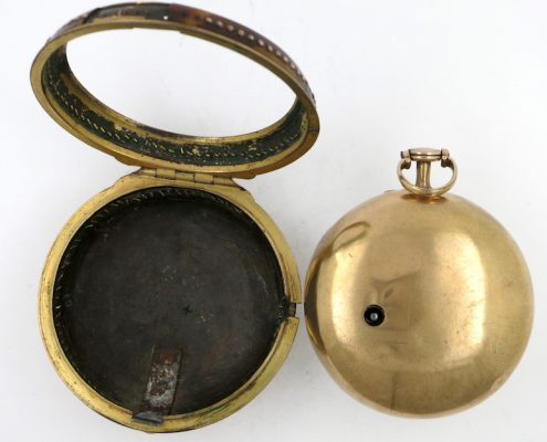 Gold & shell cylinder pocket watch by John Hunt, London