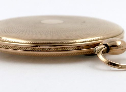 Gold, jump hour cylinder pocket watch