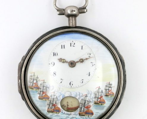 Automaton dial with naval scene