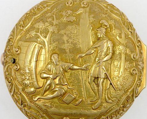 Gold repousse pair cases