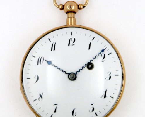 Gold repeating cylinder pocket watch