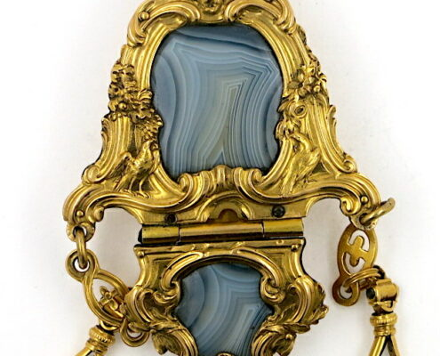 gold agate chatelaine