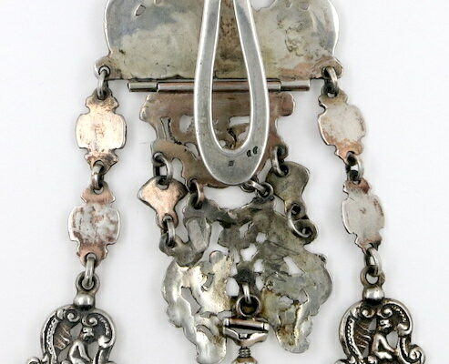 Silver Pocket Watch Chatelaine